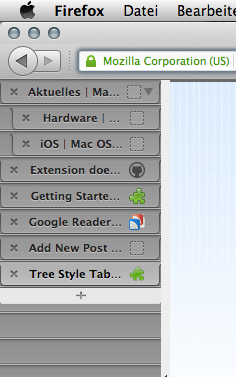 Mozilla addon tree style tab